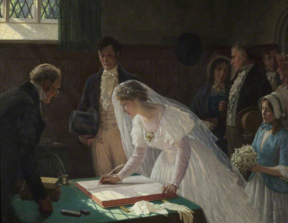 Edmund Blair Leighton - Signing the Register, Bristol City Museum and Art Gallery